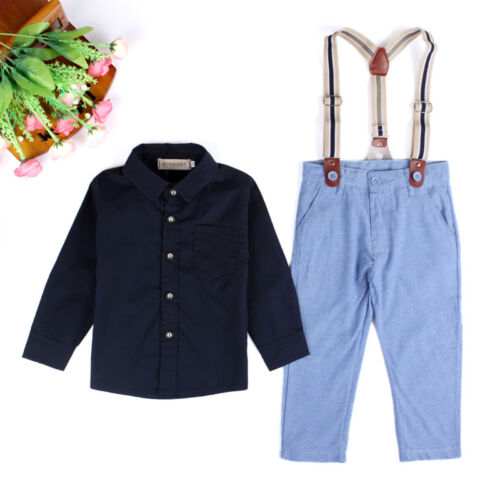 2Pcs Set Kid Boy Formal Suit Shirt Tops Suspender Long Pants Outfits Clothes US