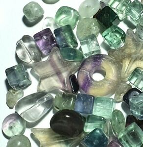 Mixed Rainbow Fluorite Semi Precious Gemstone Jewellery Making Beads RSPCA 90g