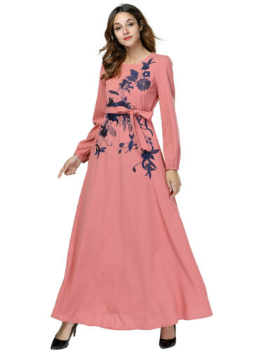 Islamic Women Flower Printed Long Maxi Dress Abaya Islam Kaftan Cocktail Gowns