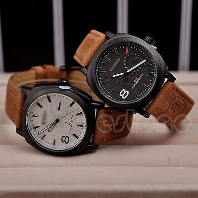HOT Men's Watches Sport Men Military Leather Strap Wrist Quartz Watch Fashion