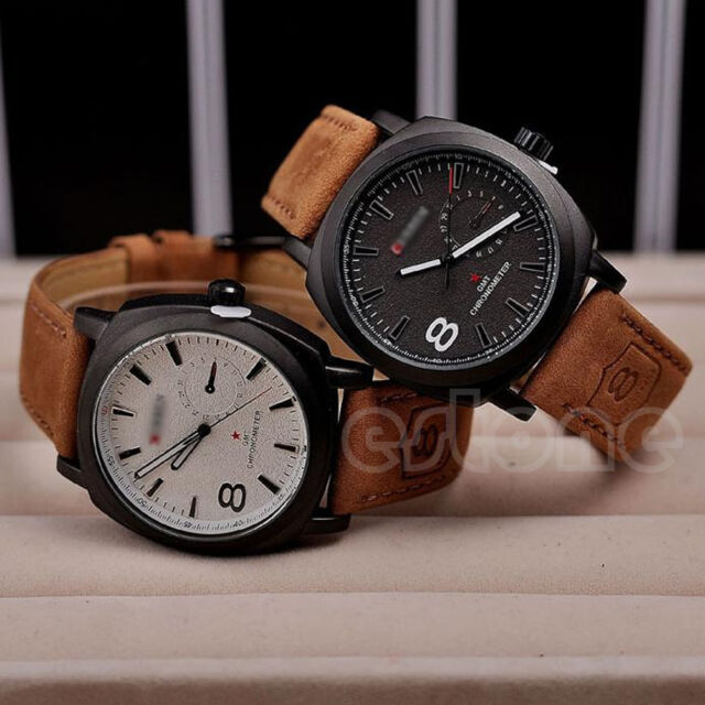 CURREN Fashion Men's Military Sport Quartz Analog Leather Wrist Watch