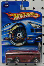 REDLINES SURFIN SCHOOL BUS RED MAROON 096 96 1 2006 HW HOT WHEELS