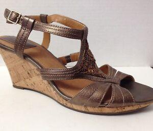 Clarks-Shoes-Womens-Size-9-5-M-Bronze-Wedge-Heels-Open-Toe-9-1-2-32043