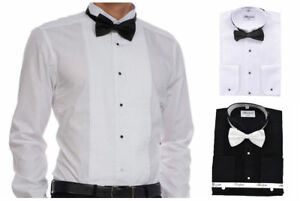 Berlioni-Men-039-s-Tuxedo-Wing-Tip-Dress-Shirt-With-Bowtie-In-Black-And-White