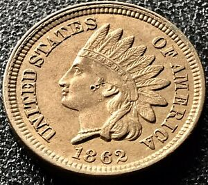 1862-Indian-Head-Cent-One-Penny-1c-High-Grade-XF-AU-Details-17991