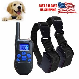 Electric-Remote-Dog-Training-Shock-Collar-Anti-No-Bark-Rechargeable-LCD-300-Yard
