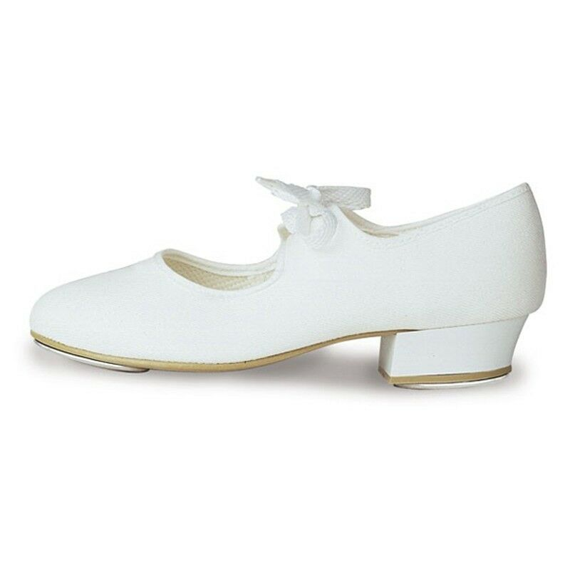 NEW GIRLS/CHILDRENS/ADULTS CANVAS TAP SHOES ALL SIZES BLACK/WHITE