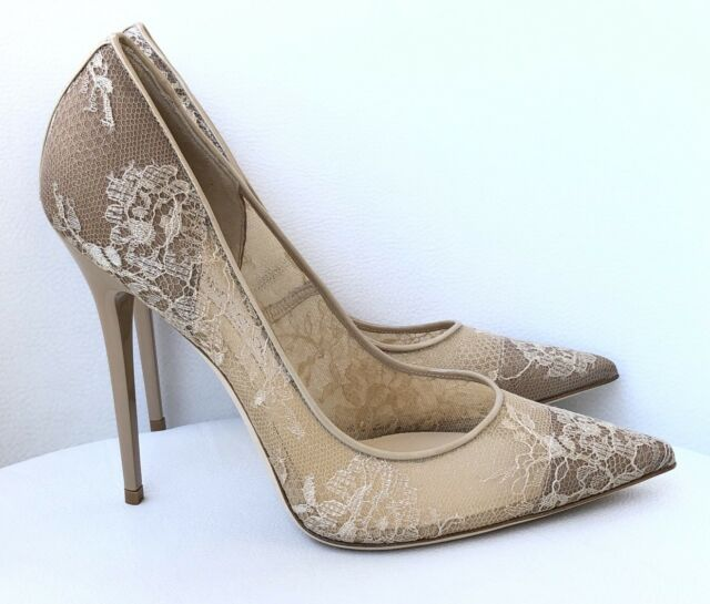 c787adf16213 Jimmy Choo Nude Lace Anouk High HEELS PUMPS Shoes Size 40.5 for sale online