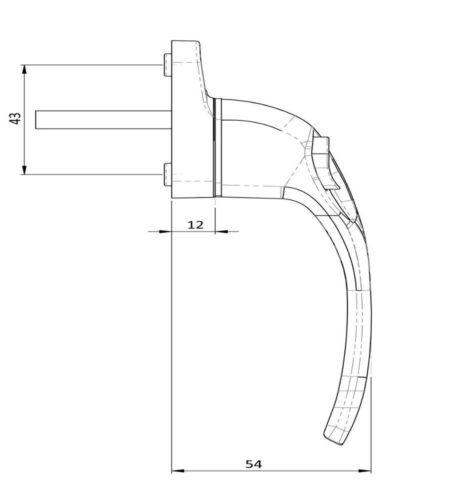 Endurance poli Or Main Droite Fenêtre Poignée 30 mm Broche