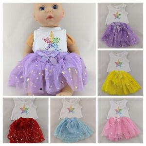 RAINBOW STAR TOP & BALLERINA TUTU SKIRT FITS MY FIRST BABY ANNABELL DOLL CLOTHES