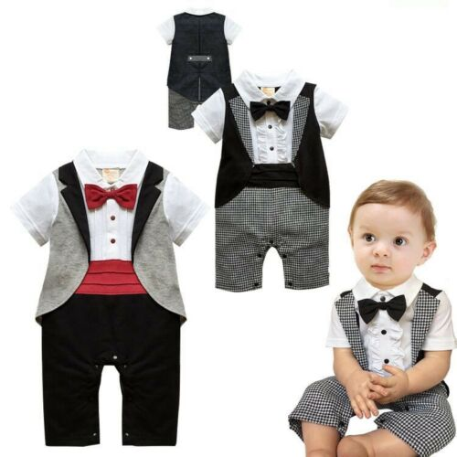 2 years Baby Boy Tuxedo Bodysuit Outfit Bow Tie Christening Wedding 6 months