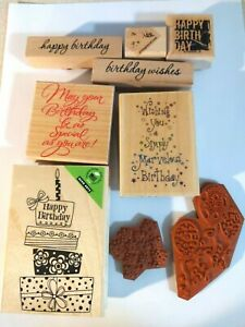 Wooden Rubber Stamps Happy Birthday Themed lot of 9