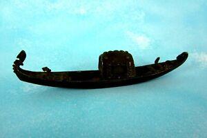 Pequeno-Antiguo-Gondolero-Italia-Metal-Bronce-Barco-16cm-Pieza-de-Coleccion