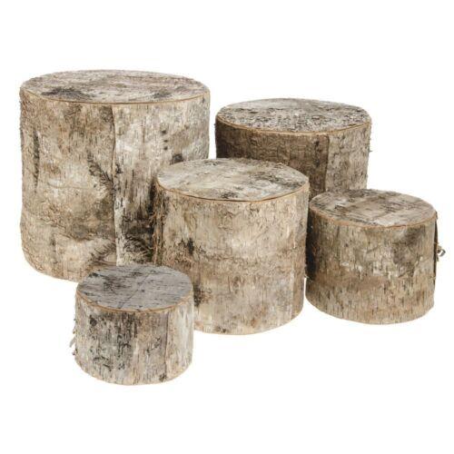 Set of 5 43676 Birch Wood Tree Stump Display Risers