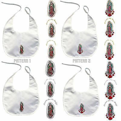 Inventive Baby Christening Baptism White Bibs Gold Silver Embroidery Virgen De Guadalupe