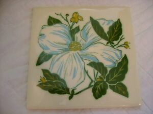 Vintage-Floral-Tile-from-Mosaic-Tile-Co-Blue-Green-Cream-Gold-Made-in-USA