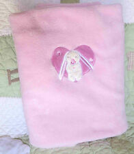 PB Piccolo Bambino Polyester Plush Pink w Bunny Rabbit & Heart Baby Girl Blanket