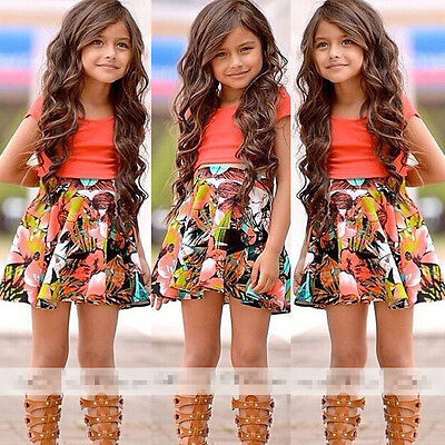 2015 Baby Kids Girls Dress Tops Shirt+Skirt Flower 2-Pieces Outfits Set 2-8Y
