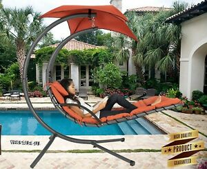 Hanging Lounge Chair Hammock W Canopy Outdoor Patio Pool