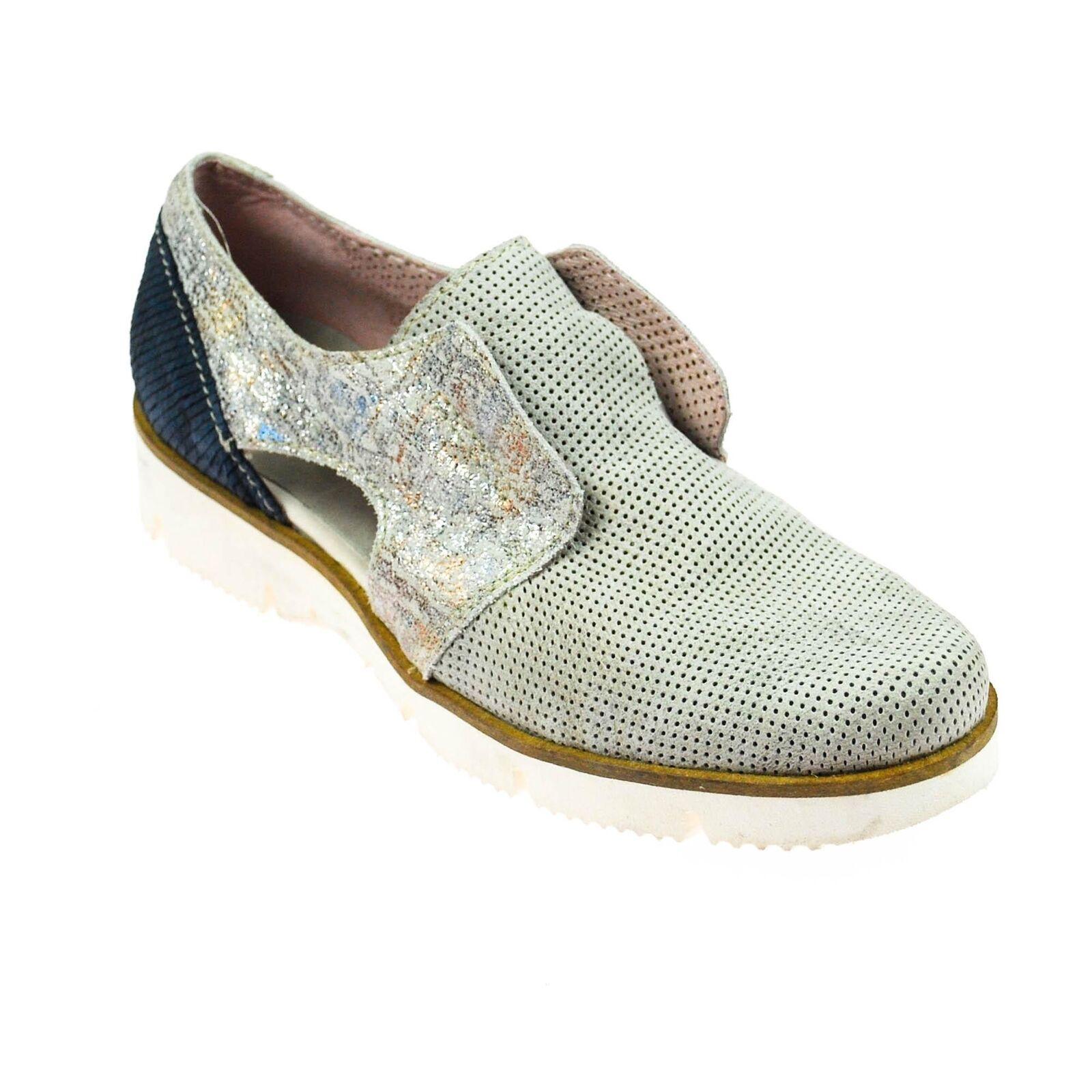 Charme Femmes Chaussure Cuir gris Bleu Lueur argent taille 37