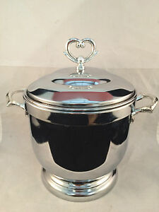 """Shelton-Ware Ice Bucket w/ Handles and Lid with Heart Topper 10"""" Tall"""