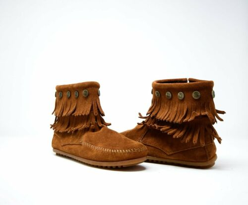 NEW Minnetonka Women/'s #692 Double-Fringe Side-Zip Boot Cinnamon Brown Size 6