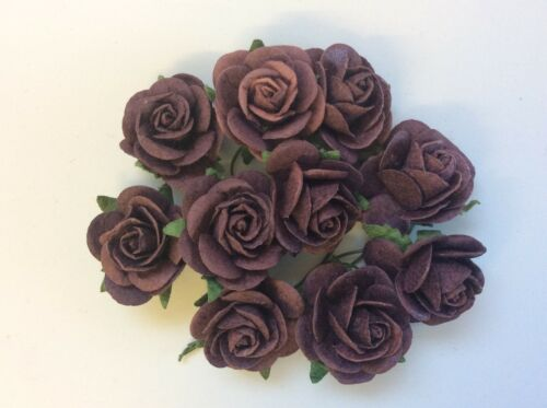 10 Dark Purple Rose 25cm Mulberry Paper Flowers Wedding Crafts