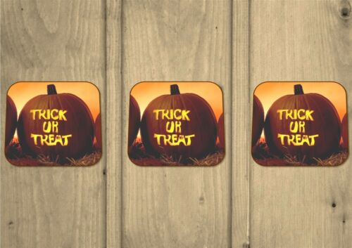 Lot de 3-premium Hardwood Trick or Treat-Halloween-Citrouilles-Coasters