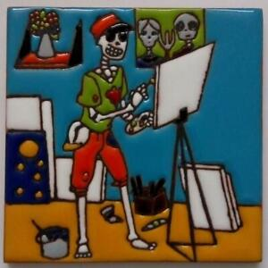 """One MEXICAN Hi Relief 4/"""" Day of the Dead Couple Dancing Talavera Tile DDT-30"""