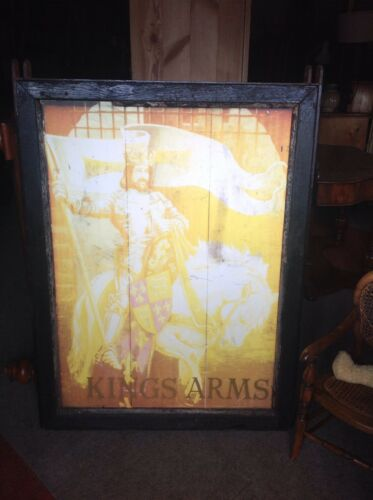 Large Old Metal Framed Hanging Pub Sign KINGS ARMS