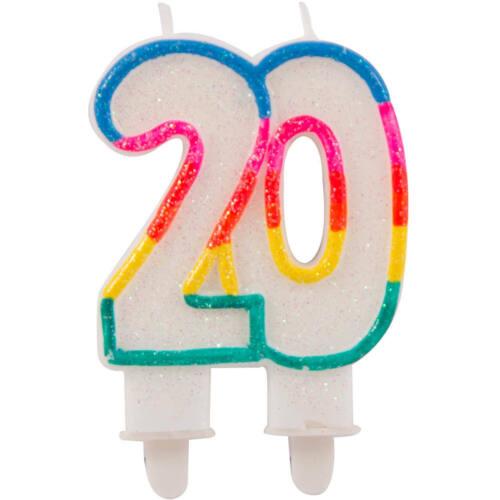 20 Geburtstag Glitzerkerze mit 2 Haltern Neu /& OVP