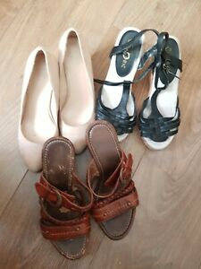 Faisceaux-de-X3-Paires-Chaussures-NEXT-Noir-bureau-beige-Clark-Brown-taille-3-Utilise