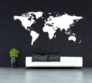 Huge world map wall art quote wall stickers home decals uk rui264 ebay image is loading huge world map wall art quote wall stickers gumiabroncs Images