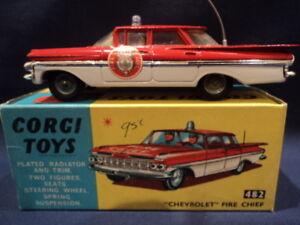 Corgi Rare des années 1960, Chevrolet Impala Chef des pompiers no: 482 Mint Ex Shop Stock