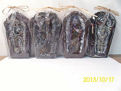 4 Gothic Home Decor Halloween Candles Skeleton Witch Vampire Mummy