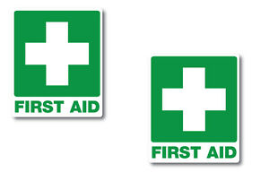 Fire Extinguisher /& First Aid sticker Set 60mm x 60mm water//fade proof vinyl