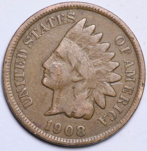 1908 INDIAN HEAD CENT PENNY CIRCULATED GRADE GOOD VERY GOOD 95/% COPPER COIN