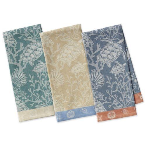 DII Coral Reef Turtles Shells Jacquard Dish Hand Towel Set of 3 Design Imports