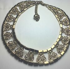 vintage EGYPTIAN revival ARTICULATED goldtone SCROLLED COLLAR bib NECKLACE