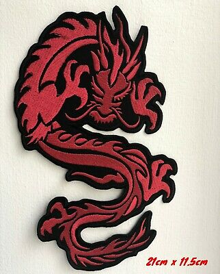 Chinese Tribal Tattoo red Dragon Embroidered Iron on Sew on Patch #1701