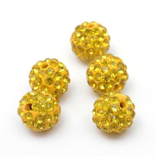 2461 10 pièces strass perles 12 mm Beads Perles Shamballa Jaune shamballaperlen