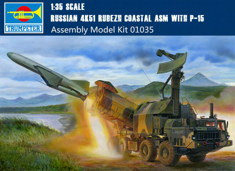01035 Russian 4K51 Rubezh Coastal ASM with P-15 1 35 Static Kit Model Trumpeter
