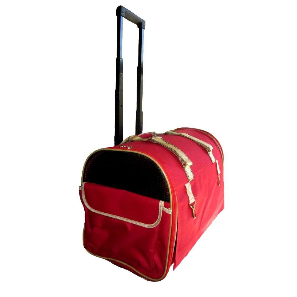 Bolso Trolley para perros y gatos con ruedas en tela roja 50x27x34...