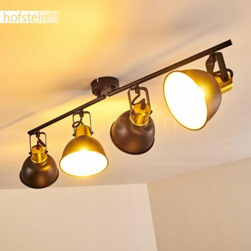 Decken Lampe Vintage Wohn Schlaf Raum Leuchte schwarz-gold Flur Dielen Strahler