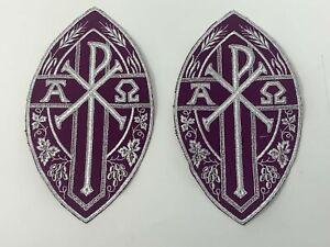 Plata-Cojos-Purpura-Vestment-A-amp-o-Px-Cruz-Emblems-Banda-6-PC-Lote-Accesorios