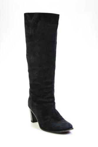 Yves Saint Laurent Womens Black Suede Knee High Bo