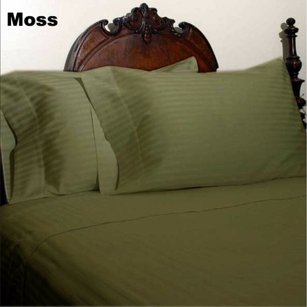 1000 Count Decent Bedding Items Egyptian Cotton US Sizes Moss Striped