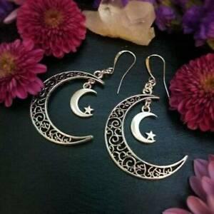Moon-Chic-Lunar-Crescent-Earrings-Vintage-Silver-Handmade-Dangle-Earring-Jewelry