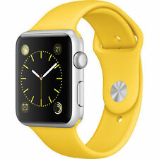 NEW Sealed Apple Watch Sport Band 42mm Silver Aluminum Case Yellow iWatch
