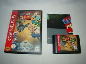 Sega-Genesis-Earthworm-Jim-2-game-cartridge-w-case-amp-poster-tested-working